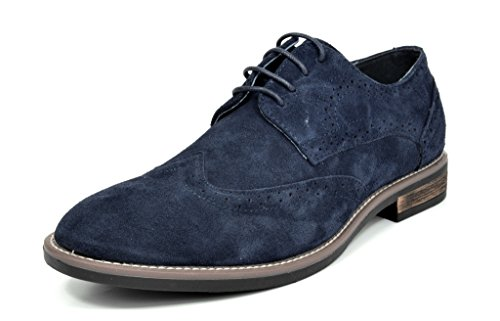 BRUNO MARC MODA ITALY URBAN-03 Men's Casual Wing Tip Brogue Genuine Suede Classic Lace Up Oxfords Shoes NAVY SIZE 14