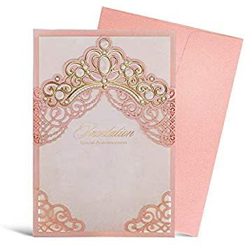 Wishmade Pink Laser Cut Wedding Invitation Card With Gold Embossed Crown Design Printable