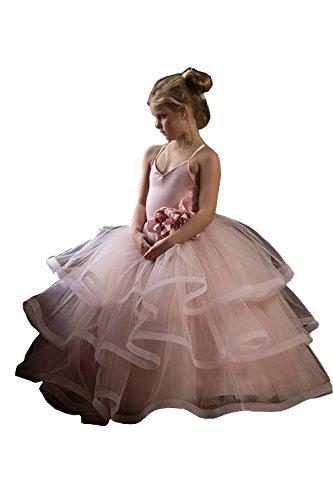 Banfvting Pale Pink Princess Graduation Gown Little Girls Spaghetti First Communication Dress Kids Adorable (12) by Banfvting (Image #2)