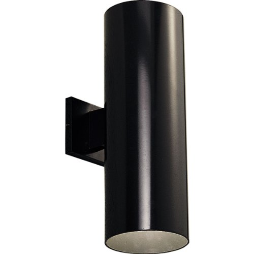 Brass Porcelain Sconce (Progress Lighting P5642-31 6-Inch Up/Down Cylinder with Heavy Duty Aluminum Construction and Die Cast Wall Bracket, Black)