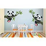 WOW Interiors PVC Twin Panda Room Wall Sticker