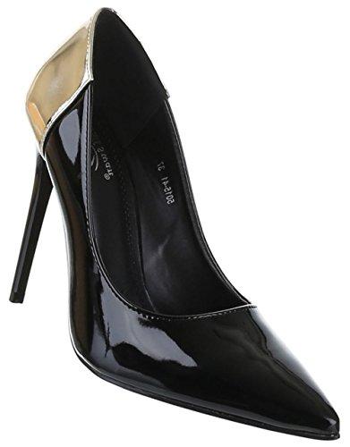 Damen-Schuhe Pumps | Frauen High Heels mit 11 cm Stiletto-Absatz in verschiedenen Farben und Größen | Schuhcity24 | Klassische Schuhe in Lacklederoptik Schwarz