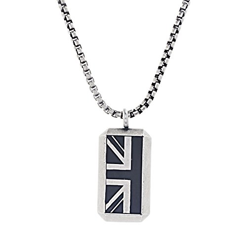 Ben Sherman Oxidized Men's Black Enamel British Flag Pendant Rolo Chain Necklace from Ben Sherman