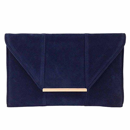 (JNB Women's Faux Microsuede Envelope Clutch (Navy))