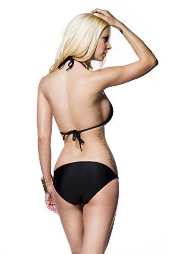 e24752bd6f4eaa Schwarzer Damen Triangel Bikini mit Neckholder Bindung und goldenen Ketten  am Höschen Schwarz 8ZinQIX ...