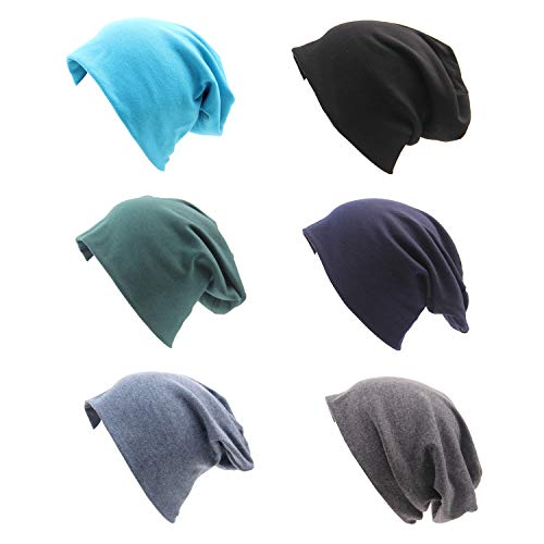 CAMTOP Slouchy Beanie Hat Baggy Cotton Chemo Cap Soft Stretch Hip Hop Skull Cap for Women and Men (Black/Gray/Denim Blue/Navy/Dark Green/Blue, 6)