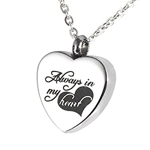 """HooAMI Cremation Jewelry """"Always in my heart"""" Memorial Urn Necklace Ashes Keepsake Pendant with Free Engraving"""