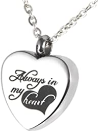 """Cremation Jewelry """"Always in my heart"""" Memorial Urn Necklace Ashes Keepsake Pendant"""