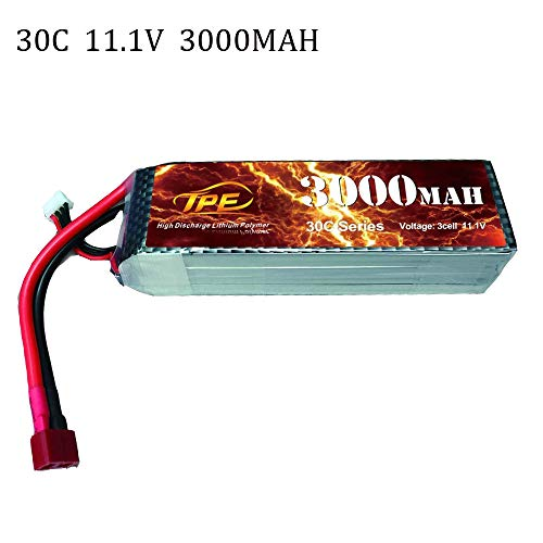 3Cell 11.1V Lipo Battery, High Discharge Lithium Polymer 30C 3000mAh RC Lipo Batteries Hard Case with Dean-Style T Connector for RC Vehicles Car, Trucks