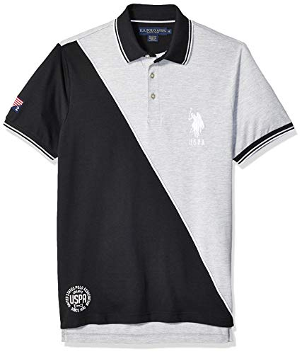 (U.S. Polo Assn. Men's Diagonal Color Block Pique Polo Shirt, Light Heather Gray, M )