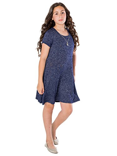 Smile You Are Beautiful Girls Plus Size Sweaterknit Skater Dress W/Necklace 14.5