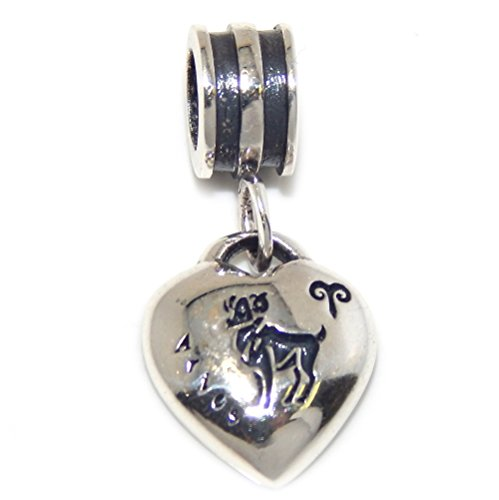 Pro Jewelry 925 Solid Sterling Silver Aries Zodiac Sign Heart Charm Bead