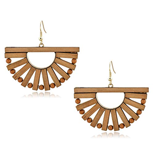 - Wooden Drop Earrings Fan Shape Natural Dangle Bohemian Personality Jewelry for Women Girls