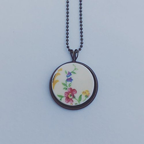 Broken China Plate Pendant - Myott English China Plate Pendant