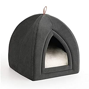 Bedsure Pet Tent Cave Bed for Cats/Small Dogs - 15x15x15 inches 2-in-1 Winter Cat Tent/Kitten Bed/Cat Hut with Removable Washable Cushioned Pillow - Microfiber Indoor Outdoor Pet Beds, Dark Grey