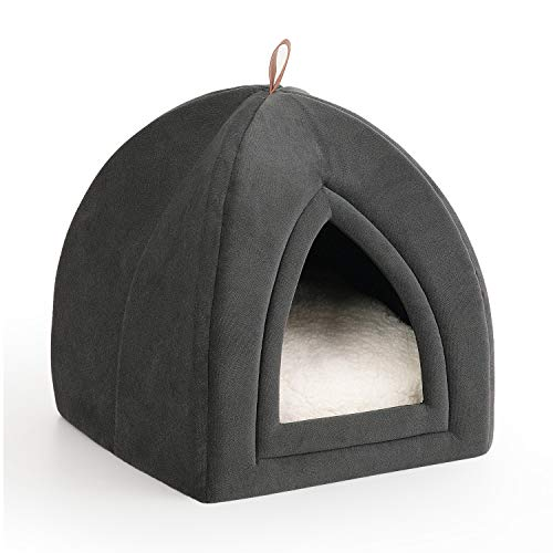 Petsure Pet Tent Cave Bed for Cats/Small Dogs - 15x15x15 inches 2-in-1 Cat Tent/Cat Bed with Removable Washable Cushioned Pillow - Microfiber Indoor Outdoor Pet Beds, Dark Grey