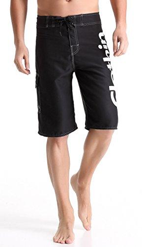 Clothin Men's Boardshort Swim Trunks Beach Quick Dry Swimming Shorts(Black, US 32)]()