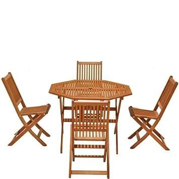 Austin FSC Eucalyptus Wood 4 Seater Garden Furniture Set   For Stylish  Outdoor Dining   Folding