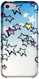 Zizo Rubberized Protective Cover Case for iPhone 5C - Retail Packaging - Sky Stars Design