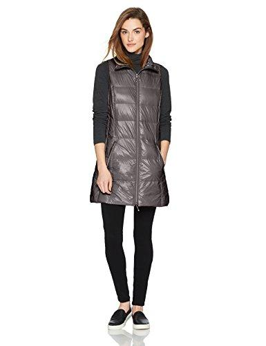 Coatology Women's Classic Long Down Vest Outerwear, -charcoal, S