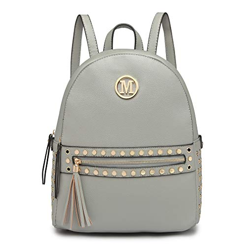 Grey Women with Handle Bag Shoulder M Pu Grab Miss Backpack detail Pouch Handbags hole Logo Studded Zipper Leather Lulu Fashion front qzYpRw