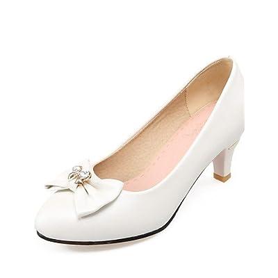 Ggx/femme Chaussures PU été/Bout Pointu talons Bureau & carrière/décontracté Stiletto Talon avec nœud Bleu/rose/blanc