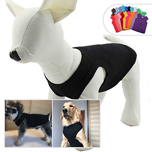 2019 Pet Clothes Dog Clothing Blank T-Shirt Tanks Top Vests for Small Medium Large Size Dogs 100% Cotton Dog Summer Vest Classic Black XL ()