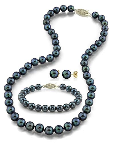 THE PEARL SOURCE 14K Gold 7-7.5mm AAA Quality Round Black Akoya Cultured Pearl Necklace, Bracelet & Earrings Set in 17