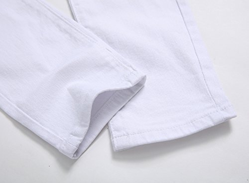 83db6d3d8 Boy's White Slim Fit Skinny Jeans Ripped Elastic Waist Pants with Zipper  for Kids,White