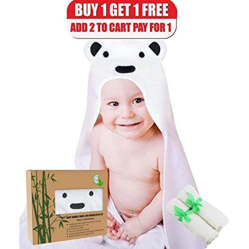 Baby Hooded Towel and Washcloth Set - 100% Bamboo - Ultra So