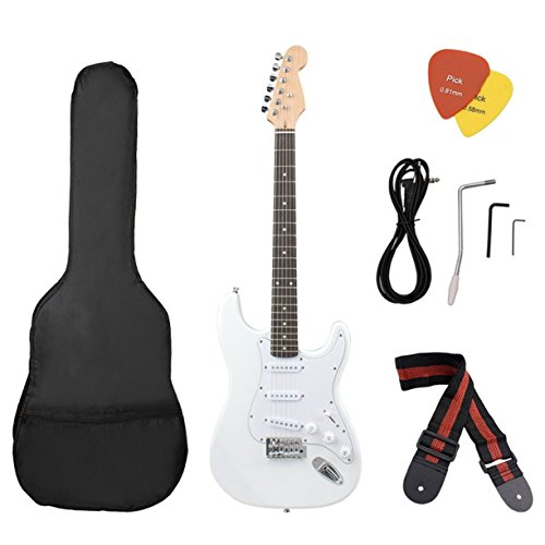 Detectoy Portable Quality Basswood Beginner Electric Electronic Guitar with Starter Kit Bag Tuner Strap by Detectoy