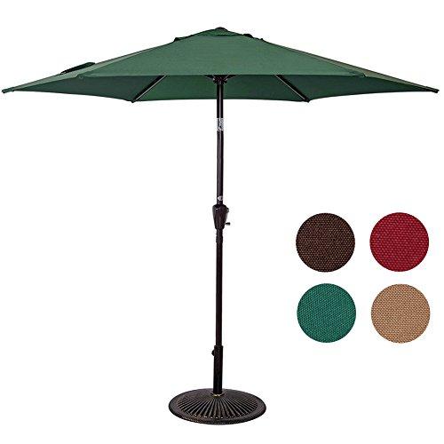 Sundale Outdoor 8.2 Feet Outdoor Aluminum Patio Umbrella with Push-button Tilt and Crank, 6 Alu. Ribs, 100% Polyester, Dark Green
