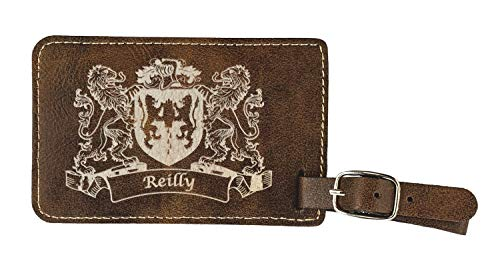 Reilly Irish Coat of Arms Luggage Tag(set of 2) - Rustic Leather