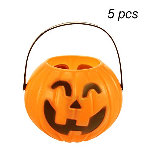 (TINKSKY Pumpkin Candy Holder Trick-or-Treat Halloween Candy Bucket Prank Tool Without Light Halloween Decorations - Size M 5pcs (Random)