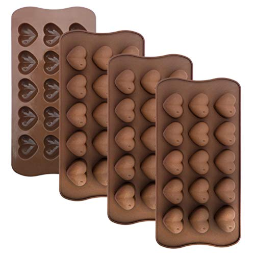 homEdge 15-Cavity Dimpled Heart Shape Chocolate Mold, Silicone Dimpled Valentine Heart Chocolate Gummy and Candy Mold (Mold Valentine Heart Candy)