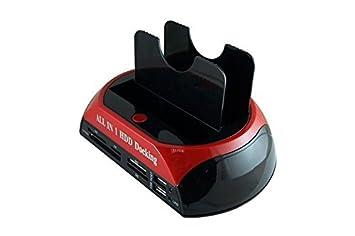 SISUN Base de Conexió n para Disco Duro - 2.5' / 3.5', USB 2.0, IDE / SATA + Lector de tarjetas ( rot ) BC80426