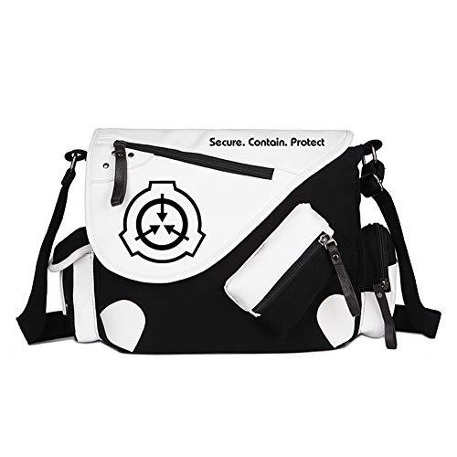 Crossbody Bag Japanese Anime SCP Cosplay Satchel Messenger Bag School Shoulder Bag for Men Women (White11)