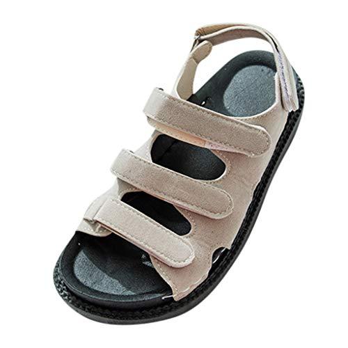 (Caopixx Summer Sandals for Women Fashion Open Toe Beach Sandals Student Round Toe Casual Shoes Khaki)