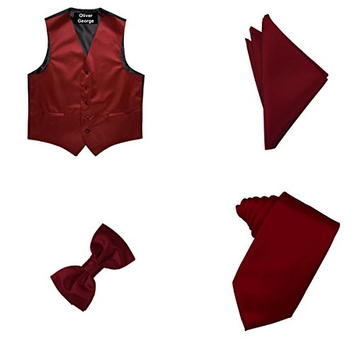 Oliver George 4pc Solid Vest Set-Burgundy-XL