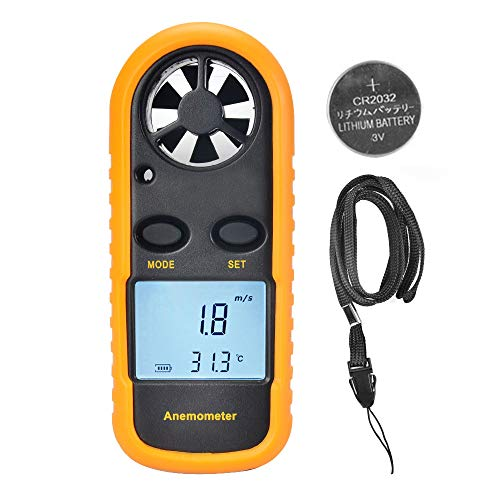OTraki Handheld Anemometer Wind Speed Meters High Precision 0.1dgt LCD Backlight Digital Air Flow Velocity Meter GM816 Portable Measuring Indicator Gauge Thermometer Windsurfing Fishing Kite Flying