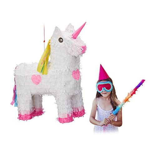 chollos oferta descuentos barato Relaxdays Piñata Unicornio Color Blanco Rosa HxWxD 47 x 43 x 13 cm 10022562