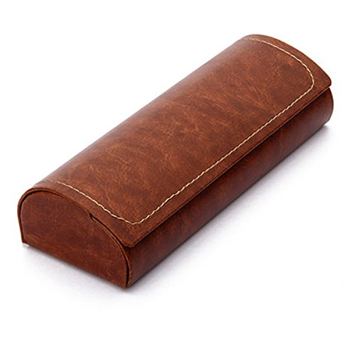 Hard Shell Eyeglass Case, Polermax PU Leather Vintage Pattern Glasses Protective Case for Small Medium Sized Glasses Frame (Brown) by Polemax
