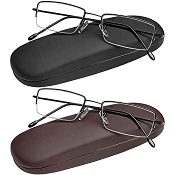 f14e513dee5 Reading Glasses Set of 2 Half Rim with Leather Cases Included High Quality  and Durable Classic Readers for Men and Women +1.5