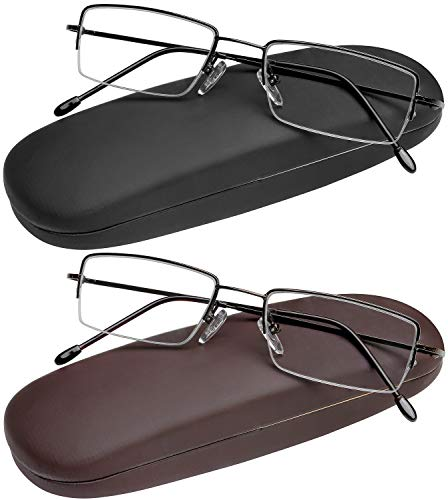 Reading Glasses Set of 2 Half Rim with Leather Cases Included and Durable Classic Readers for Men and Women +1.75 (Reading Glasses Case Leather)