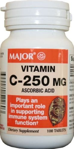 Major Vitamin-C 250 mg Ascorbic Acid Tablets, 100 CT
