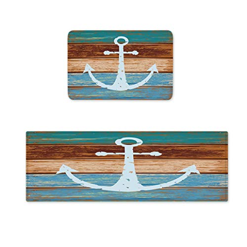 Goodbath Kitchen Rugs, Retro Nautical Anchor Non Slip Kitchen Rug Set 2 Piece, 16
