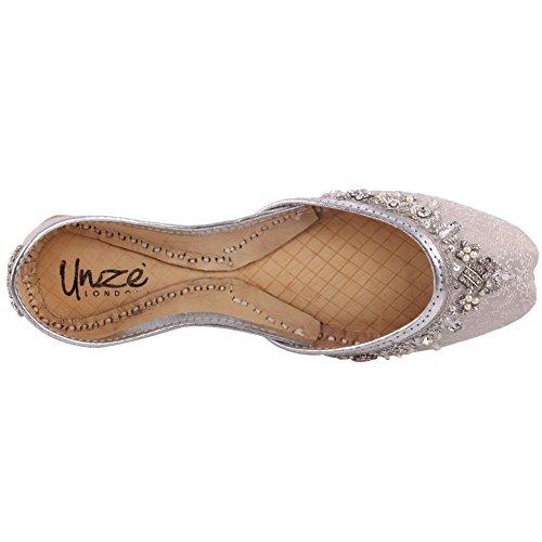 Le Panno Handmade Khussa Unze Pattini Donne Abbellito Il Nuove Indiano 8 Argento Pantofole Hanno Piatto 3 'beryl' qpp8C1d