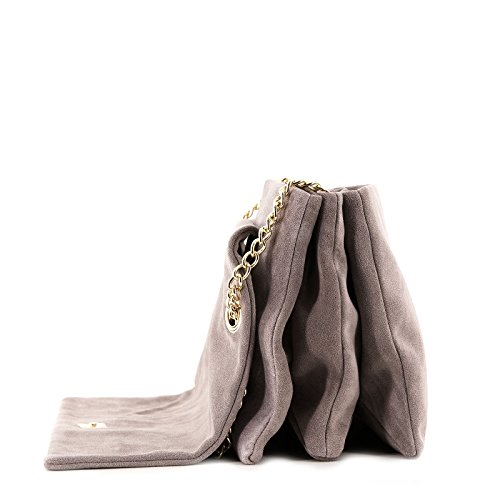 Rouven / Liv 3-Fold Volume 30 Bag / Harbor Mist Warm Taupe Neutral Gray Grau / Velourleder Suede Wildleder Leder Tasche mit Kettenhenkel Schultertasche / edel modern chic minimalistisch / 30x20x10cm