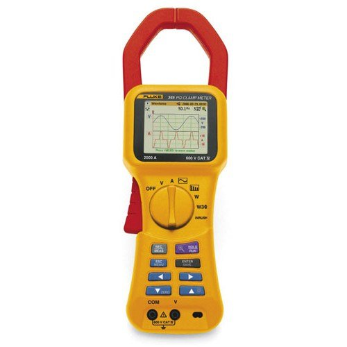 "Fluke 345 Power Quality Clamp Meter, LCD Display, +/-3 Degrees Accuracy, 0.001 Resolution, 0 to 50 Degrees C Temperature Range, 12"" Length x 3.75"" Width x 2"" Depth"