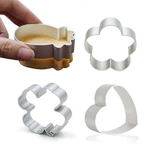 Lucky Cookie Cutter for Homemade Treats- 4 Piece Set - Clover, Pineapple, Plum, Heart Shaped Cute Mini Aluminum Alloy Cookie Candy Food Molds ()